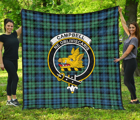 Image of Campbell Ancient 01 Tartan Clan Badge Premium Quilt | Scottishclans.co