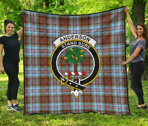 Image of Anderson Ancient Tartan Clan Badge Premium Quilt | Scottishclans.co