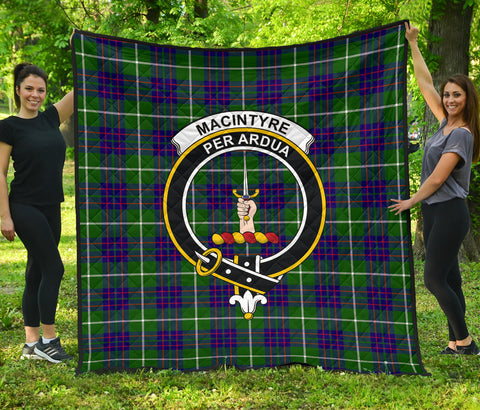 MacIntyre Hunting Modern Tartan Clan Badge Premium Quilt | Scottishclans.co