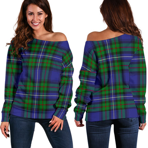 Tartan Womens Off Shoulder Sweater - Robertson Hunting Modern