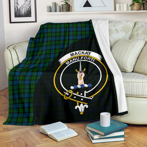 Image of MacKay Modern Tartan Clan Badge Premium Blanket Wave Style