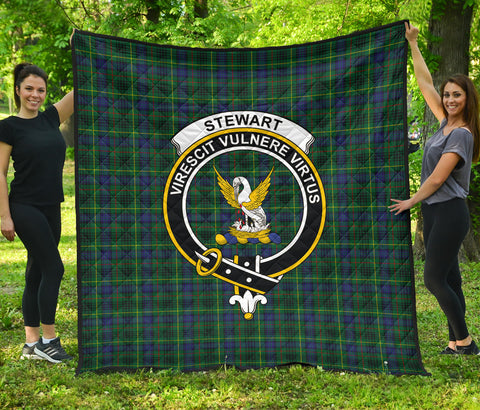 Image of Stewart Hunting Modern Tartan Clan Badge Premium Quilt | Scottishclans.co