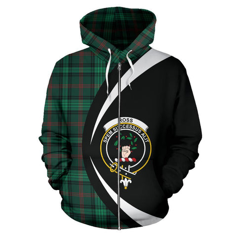 Ross Hunting Modern Tartan Circle Zip Hoodie