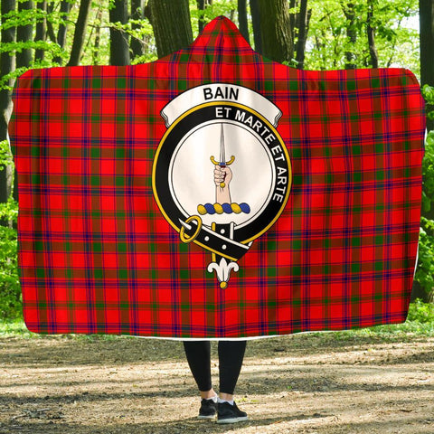 Image of Bain Clans Tartan Hooded Blanket
