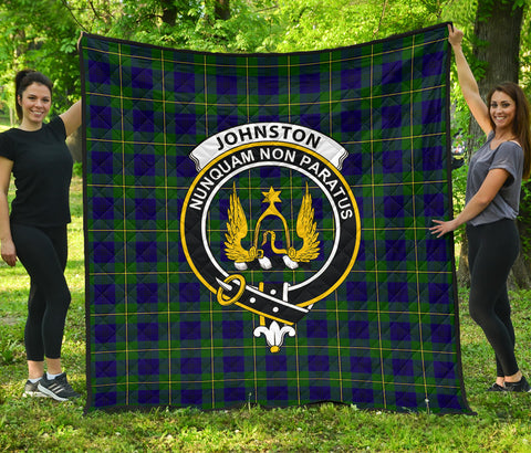 Image of Johnston Modern Tartan Clan Badge Premium Quilt | Scottishclans.co