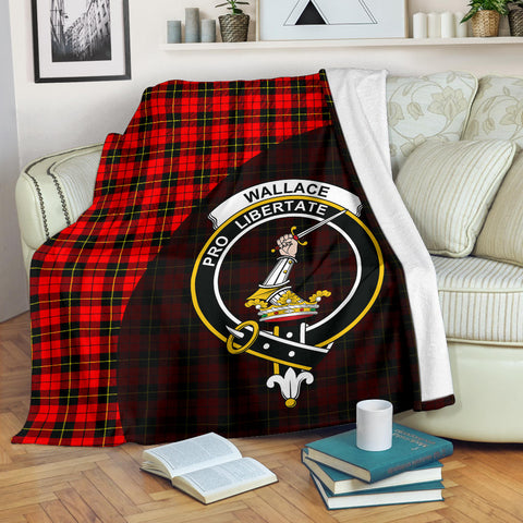 Wallace Hunting - Red Tartan Clan Badge Premium Blanket Wave Style
