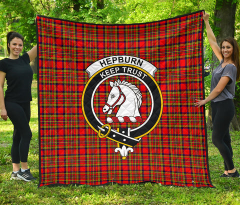 Hepburn Tartan Clan Badge Premium Quilt | Scottishclans.co
