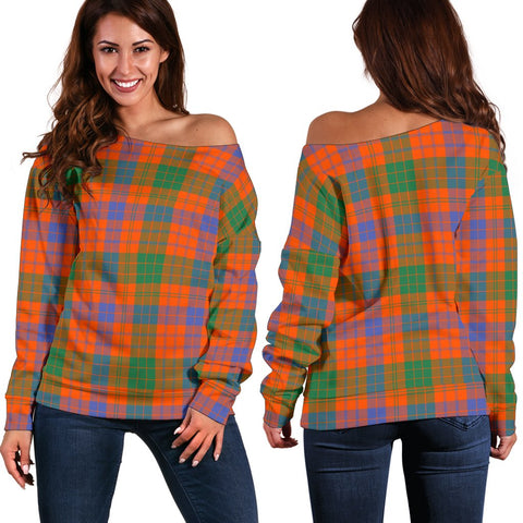 Image of Tartan Womens Off Shoulder Sweater - Ross Ancient