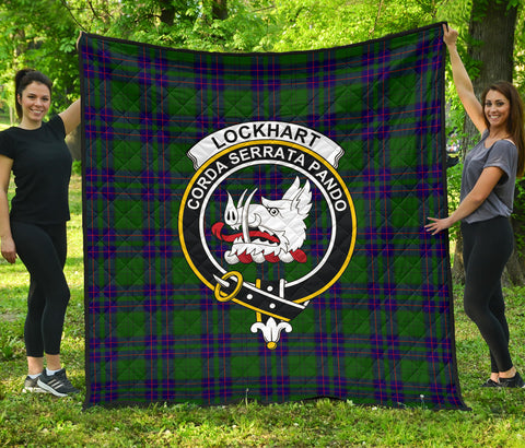 Lockhart Modern Tartan Clan Badge Premium Quilt | Scottishclans.co