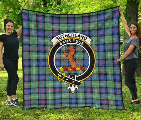 Sutherland Old Ancient Tartan Clan Badge Premium Quilt | Scottishclans.co