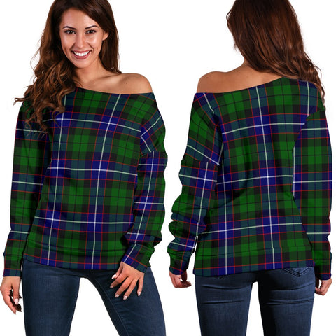 Image of Tartan Womens Off Shoulder Sweater - Russell Modern