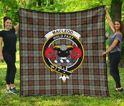 Image of MacLeod of Harris Weathered Tartan Clan Badge Premium Quilt | Scottishclans.co