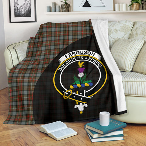 Image of Fergusson Weathered Tartan Clan Badge Premium Blanket Wave Style