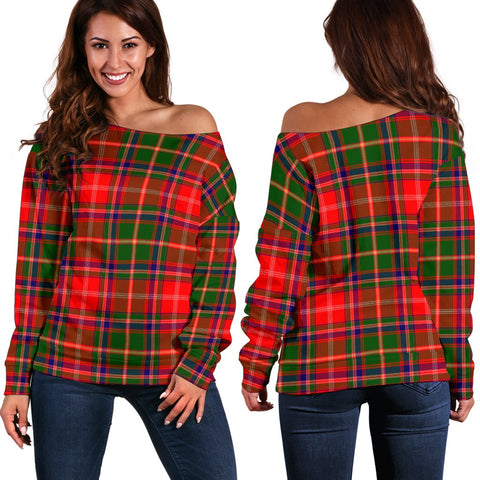 Tartan Womens Off Shoulder Sweater - Somerville Modern