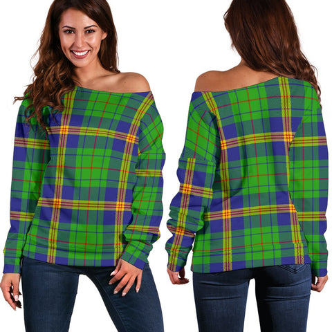 Tartan Womens Off Shoulder Sweater - New Mexico