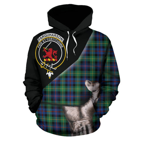 Image of Farquharson Ancient Tartan Clan Crest Hoodie Patronage HJ4