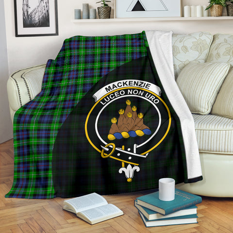 Image of MacKenzie Tartan Clan Badge Premium Blanket Wave Style TH8