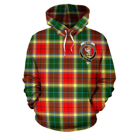 Image of Gibbs Tartan Clan Badge Hoodie HJ4
