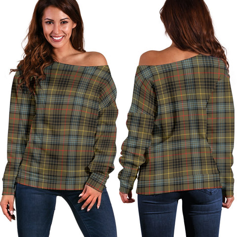 Tartan Womens Off Shoulder Sweater - Stewart Hunting Weathered