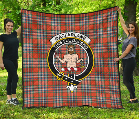 MacFarlane Ancient Tartan Clan Badge Premium Quilt | Scottishclans.co