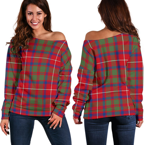 Image of Tartan Womens Off Shoulder Sweater - Shaw Red Modern