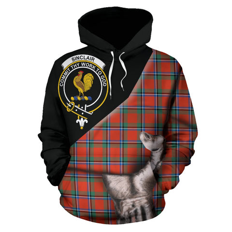 Image of Sinclair Ancient Tartan Clan Crest Hoodie Patronage HJ4