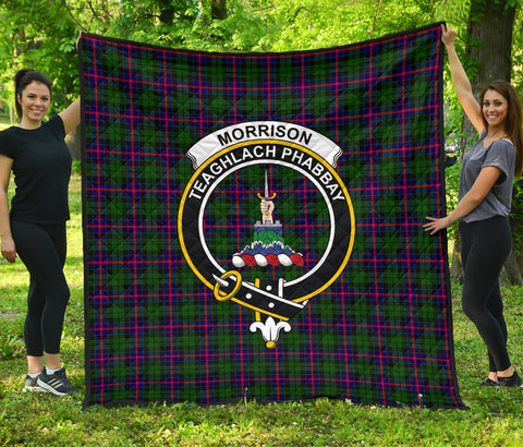 Morrison Modern Tartan Clan Badge Premium Quilt | Scottishclans.co