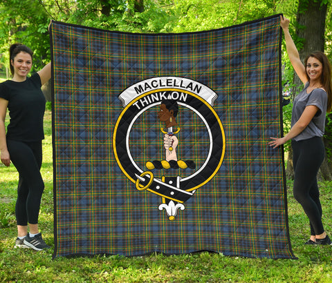 MacLellan Ancient Tartan Clan Badge Premium Quilt | Scottishclans.co