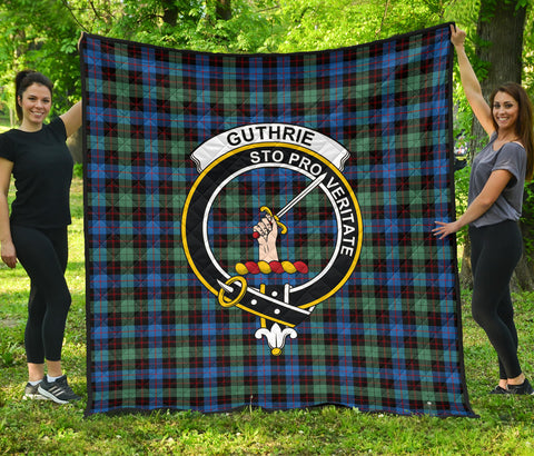 Image of Guthrie Ancient Tartan Clan Badge Premium Quilt | Scottishclans.co