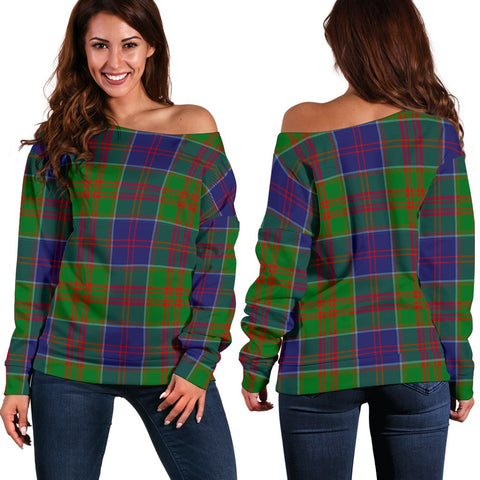 Tartan Womens Off Shoulder Sweater - Stewart Of Appin Hunting Modern