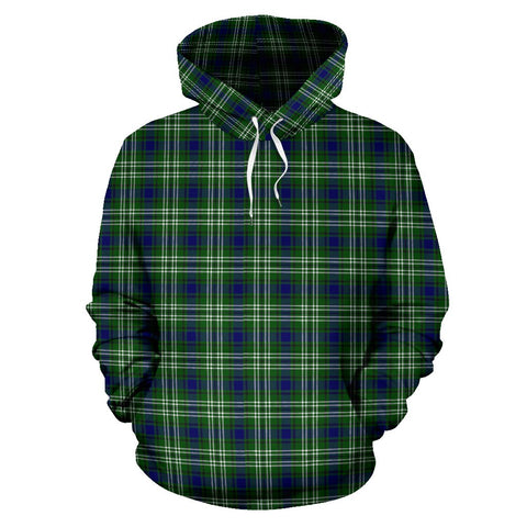Tweedside District Tartan Hoodie, Scottish Tweedside District Plaid Pullover Hoodie