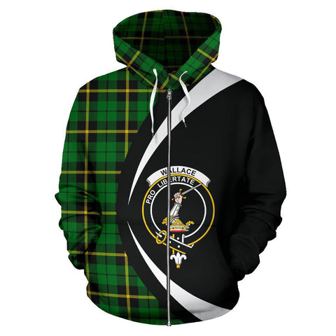 Wallace Hunting - Green Tartan Circle Zip Hoodie
