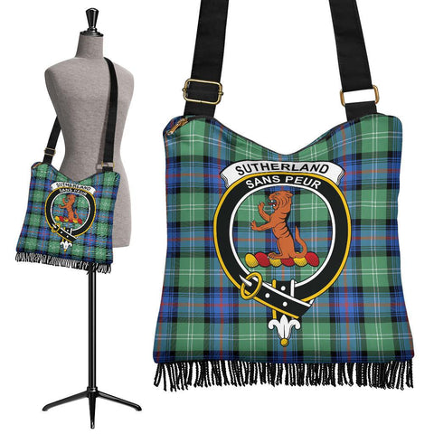 Sutherland Old Ancient Tartan Clan Badge Boho Handbag | scottishclans.co