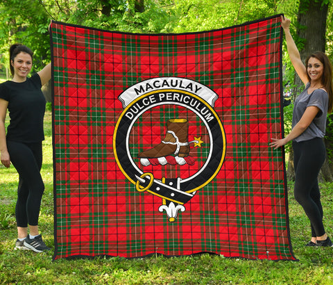 Image of MacAulay Modern Tartan Clan Badge Premium Quilt | Scottishclans.co