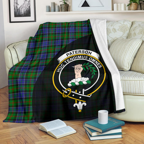 Paterson Tartan Clan Badge Premium Blanket Wave Style