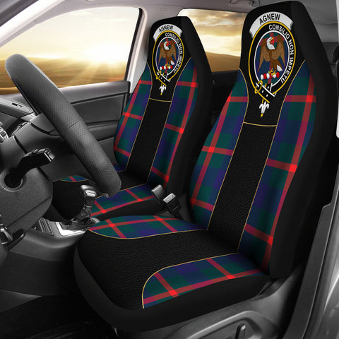 Agnew Tartan Car Seat Cover Clan Badge - Special Version