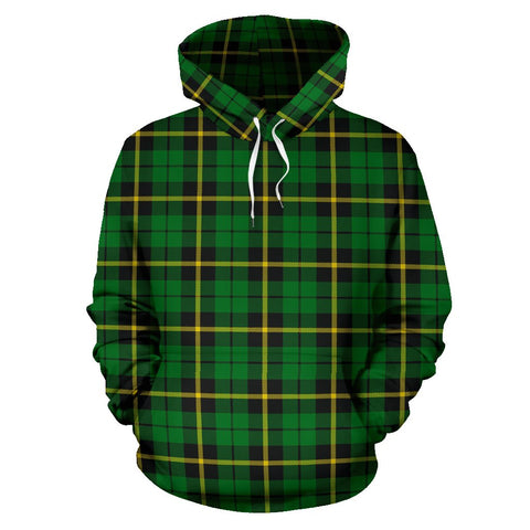 Wallace Hunting - Green Tartan Hoodie, Scottish Wallace Hunting - Green Plaid Pullover Hoodie