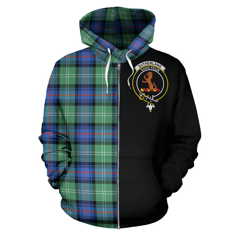 Sutherland Old Ancient Tartan Hoodie Half Of Me