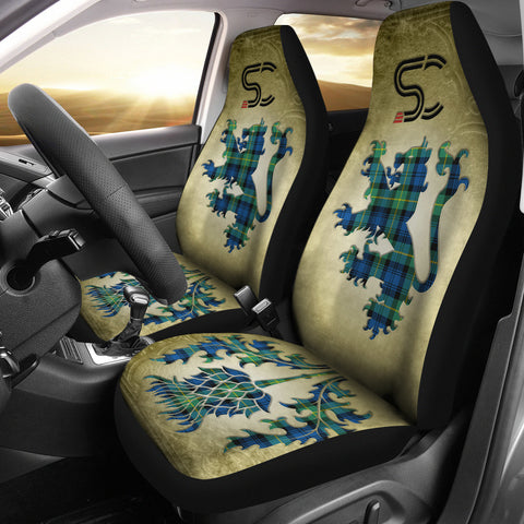Image of Gordon Ancient Tartan Car Seat Cover Lion and Thistle Special Style