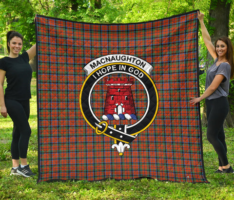 MacNaughton Ancient Tartan Clan Badge Premium Quilt | Scottishclans.co