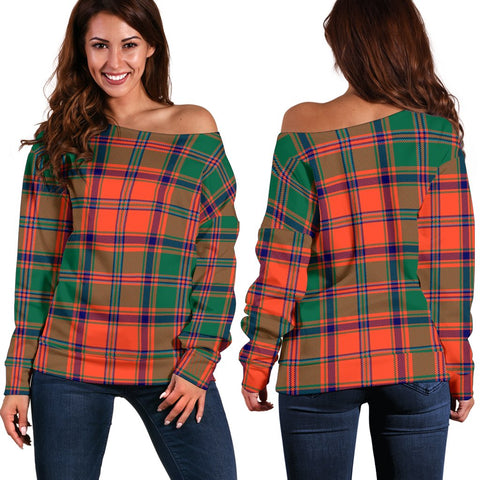 Tartan Womens Off Shoulder Sweater - Stewart Of Appin Ancient