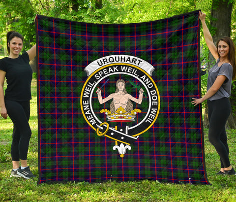 Urquhart Modern Tartan Clan Badge Premium Quilt | Scottishclans.co