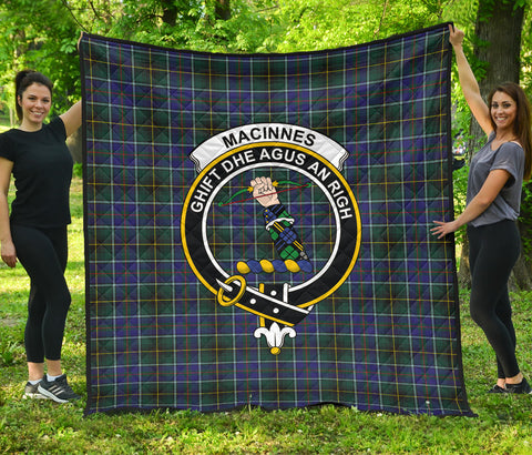 MacInnes Modern Tartan Clan Badge Premium Quilt | Scottishclans.co