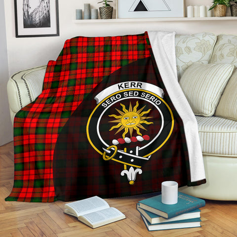 Kerr Modern Tartan Clan Badge Premium Blanket Wave Style