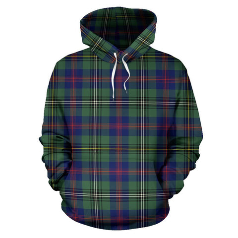 Image of Wood Modern Tartan Hoodie, Scottish Wood Modern Plaid Pullover Hoodie