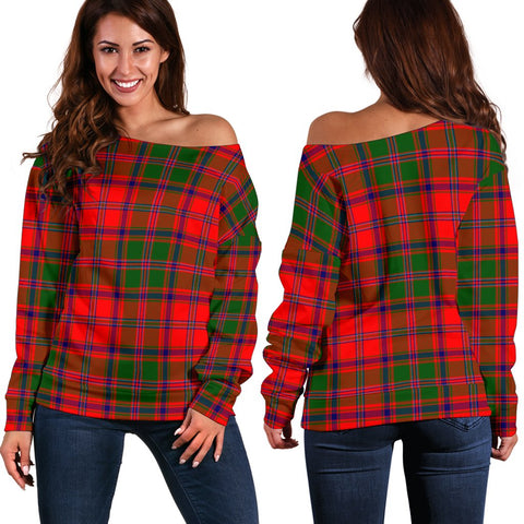 Tartan Womens Off Shoulder Sweater - Stewart Of Appin Modern