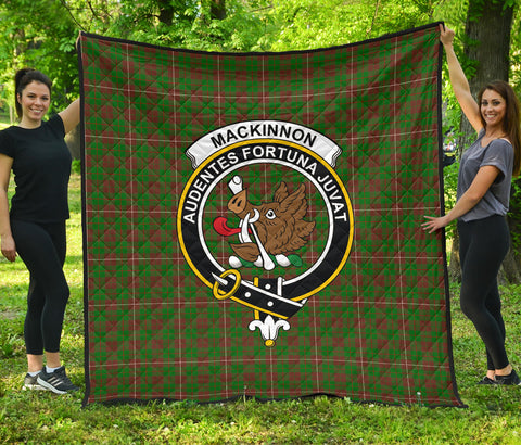 Image of MacKinnon Hunting Modern Tartan Clan Badge Premium Quilt | Scottishclans.co