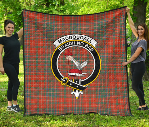 MacDougall Ancient Tartan Clan Badge Premium Quilt | Scottishclans.co