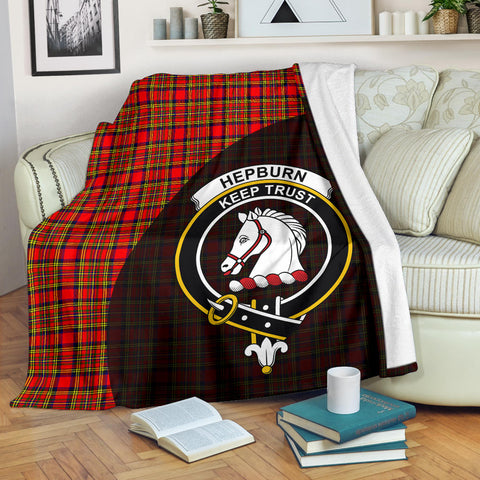Hepburn Tartan Clan Badge Premium Blanket Wave Style