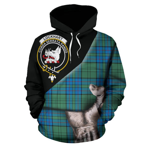 Image of Lockhart Tartan Clan Crest Hoodie Patronage HJ4